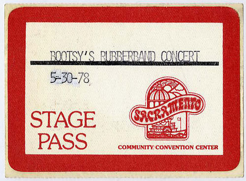 Bootsy's Rubberband 1978 Stage Backstage  Pass