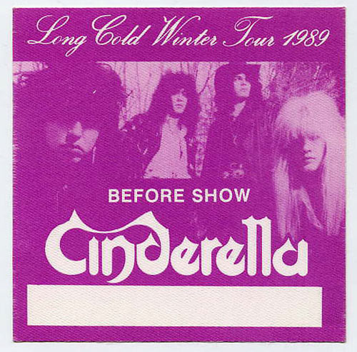 Cinderella 1989 Purple Before Show Backstage  Pass