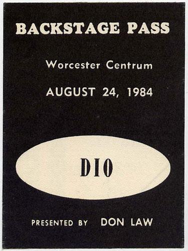 DIO 1984 Backstage Backstage  Pass