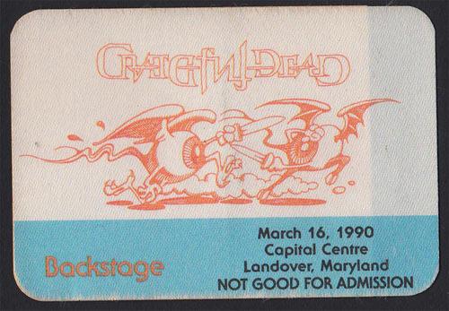 Rick Griffin Grateful Dead 3/16/1990 Washington DC Backstage Pass