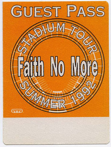 Faith No More 1992 Guest Backstage  Pass