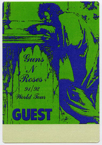 Guns N' Roses 1991 Green Guest Backstage  Pass
