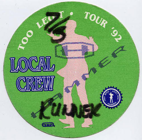 MC Hammer 1992 Too Legit Green Crew Backstage  Pass