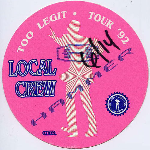 MC Hammer 1992 Too Legit Pink Crew Backstage  Pass