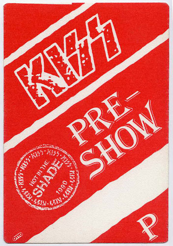 KISS 1990 Hot In The Shade Red Pre-Show Backstage  Pass