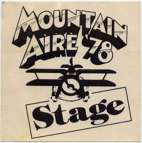 Mountain Aire 1978 Black Stage Backstage  Pass