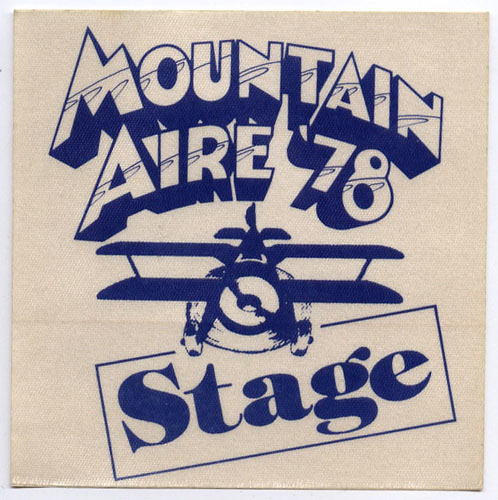 Mountain Aire 1978 Blue Stage Backstage  Pass