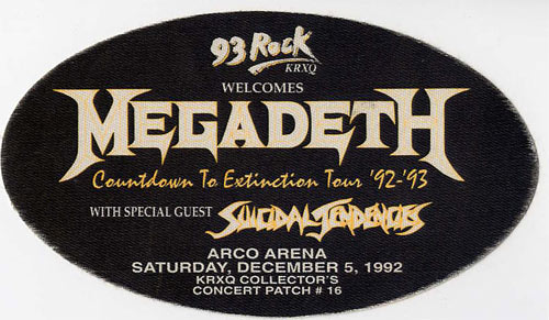 Megadeth 1992 Countdown To Extinction Backstage  Pass