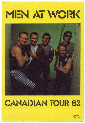 Men At Work 1983 Canadian Tour Backstage  Pass