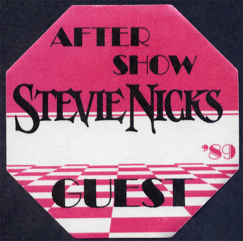 Stevie Nicks 1989 Pink After Show Guest Backstage  Pass