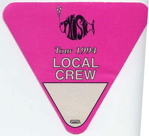 Phish 1994 Pink Crew Backstage  Pass