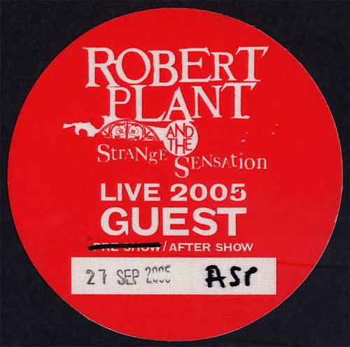 Robert Plant and the Strange Sensation Backstage Pass