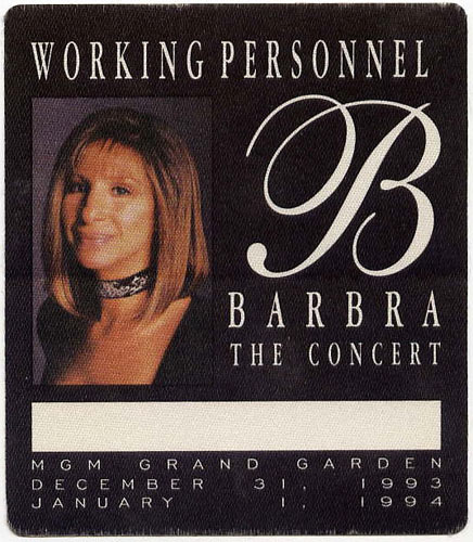 Barbra Streisand 1993 Personnel Backstage  Pass