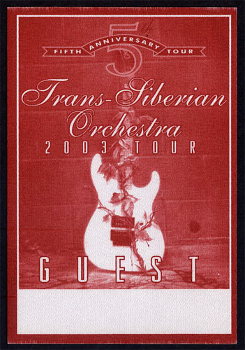 Trans-Siberian Orchestra 2003 Tour Backstage Pass