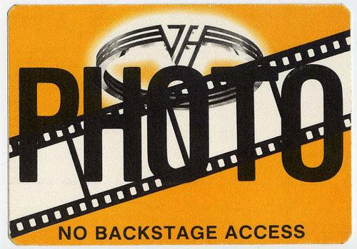 Van Halen Orange Photo Backstage  Pass