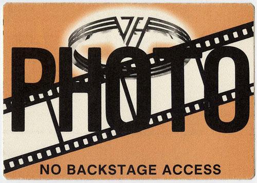 Van Halen Brown Photo Backstage  Pass
