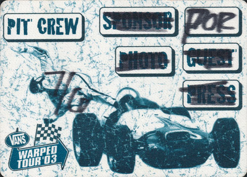 Vans Warped Tour 2003 Pit Crew Backstage Pass