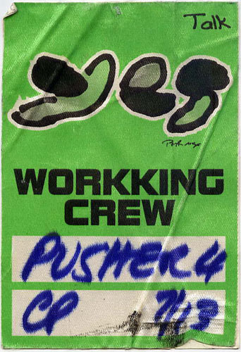Peter Max Yes 1994 Talk Tour Working Crew Backstage  Pass