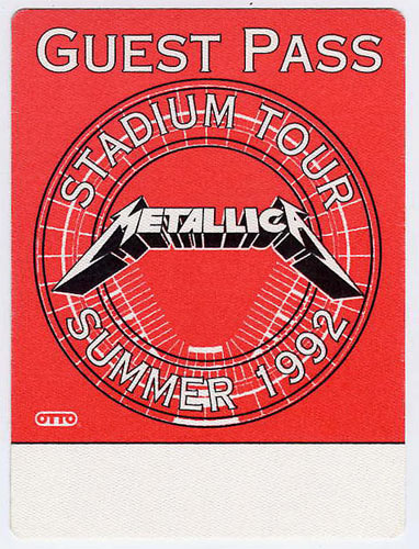 Metallica 1992 Red Guest Backstage  Pass