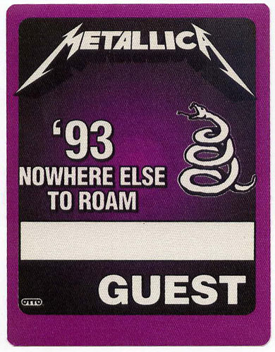 Metallica 1993 Nowhere Else To Roam Purple Guest Backstage  Pass