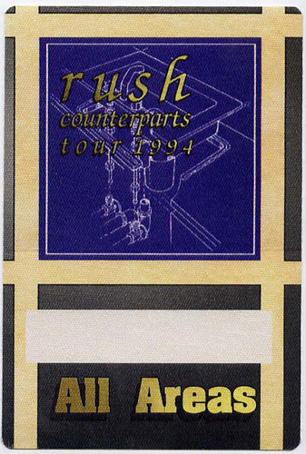 Rush 1994 Counterparts Tour All Areas Backstage  Pass
