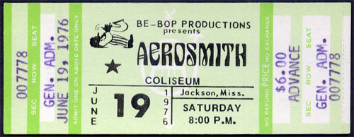 Aerosmith 1976  ticket
