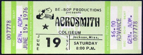 Aerosmith 1976  ticket