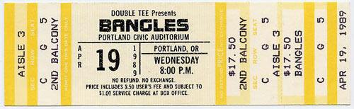 Bangles 1989 Portland Ticket