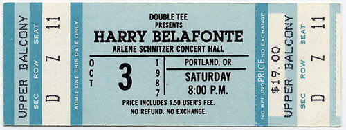 Harry Belafonte 1987 Portland Ticket