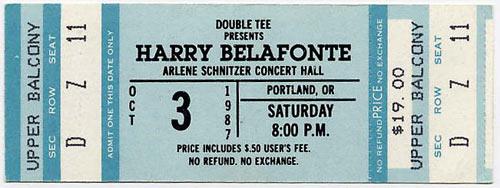 Harry Belafonte 1987 Portland Ticket