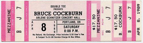 Bruce Cockburn 1989 Portland Ticket