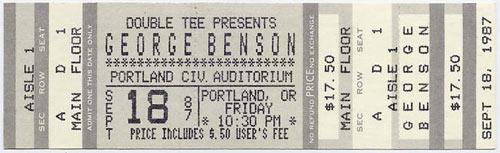 George Benson 1987 Portland Ticket