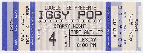 Iggy Pop 1988 Portland Ticket
