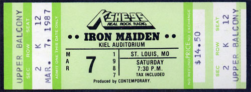 Iron Maiden 1987 ticket