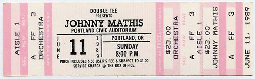 Johnny Mathis 1989 Portland Ticket