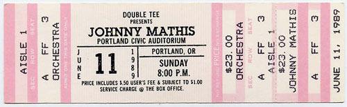 Johnny Mathis 1989 Portland Ticket