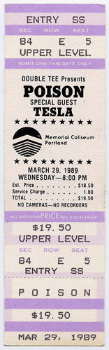 Poison 1989 Portland Ticket