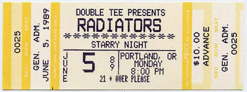 Radiators Portland 1989 Ticket