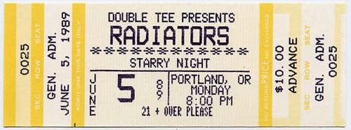 Radiators Portland 1989 Ticket