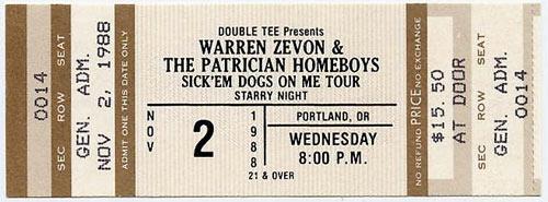 Warren Zevon 1988 Portland Ticket