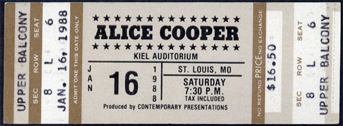 Alice Cooper 1988 St Louis ticket