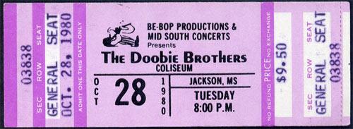 Doobie Brothers 1980 ticket