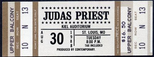 Judas Priest 1988 ticket
