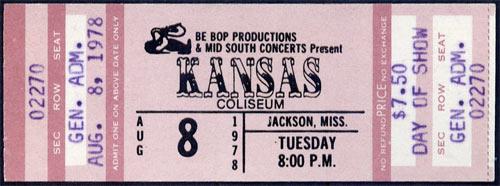 Kansas 1978 ticket