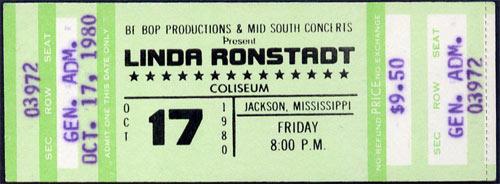 Linda Ronstadt 1980 ticket
