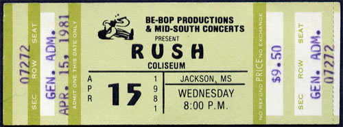 Rush 1981 ticket