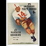 1952 San Francisco 49ers vs Washington Redskins Pro Football Program