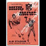 1971 San Francisco 49ers vs Denver Broncos Pro Football Program
