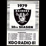Oakland Raiders 1979 Schedule KGO Radio Promo Sticker