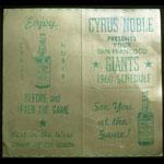 1960 San Francisco Giants Pocket Schedule